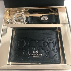 Beautiful Coach Black Card Case and Key Ring NWT